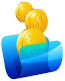 Transparent folder with money. Vector illustration eps10 Royalty Free Stock Images