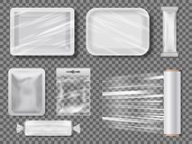 Transparent food packages from polythene. Protection wrap clean, foil and polythene. Vector illustration royalty free illustration