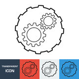 Transparent Gear icon. Vector icon on different types backgrounds Stock Photos