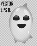 Transparent ghost on checked background. Halloween vector illustration. royalty free stock photos