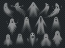 Transparent ghost. Horror spooky ghosts, halloween night ghostly ghoul. Scary phantom vector illustration set. Transparent ghost. Horror spooky ghosts, halloween stock illustration