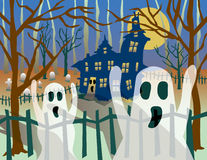 Transparent Ghosts. A stylized Halloween illustration with ghosts, haunted house, graveyard and full moon Royalty Free Stock Photos