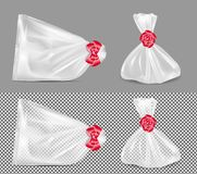 Transparent gift pouch with red ribbon and bow stock illustration