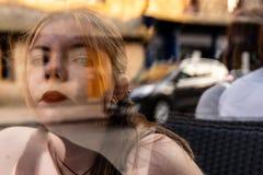 Transparent girl Surrealist scene  double exposure stock image