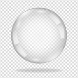 Water soap bubble with soft shadow. Transparent glas. White pearl, water soap bubble, shiny glossy orb realistic design elements Stock Image