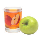 Transparent glass with apple juice and green apple.  Royalty Free Stock Images