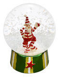 Transparent glass ball with Santa Claus and snow. Inside isolated on white with clipping paths Royalty Free Stock Photo