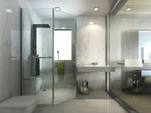 Transparent Glass Bathroom With Shower And WC. Stock Image