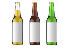 Transparent glass bottle, brown and green bottle with white label for beer and beverage or carbonated drinks. Studio 3D Stock Images