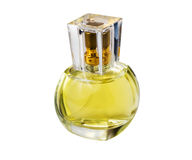 Transparent glass bottle with perfume Royalty Free Stock Images