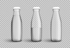 Transparent glass bottle with water, full, half full and empty. Set on transparent background. Vector illustration in your designs, mock-up containers filled Stock Images