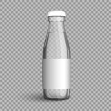 Transparent glass bottle with water on a transparent background. Transparent glass bottle with water. Vector illustration packaging bottle filled with clear Royalty Free Stock Image