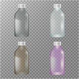 Transparent Glass Bottles. Dairy products. Empty and closed jars. Vector set of four images. Stock Photo