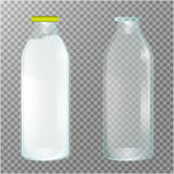 Transparent Glass Bottles. Dairy products. Empty, full and closed milk jars. Vector set of three images. Royalty Free Stock Image