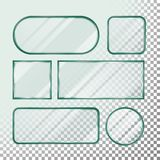 Transparent Glass Button Vector. Set Square, Round, Rectangular Shape. Realistic Plates. On Transparency stock illustration
