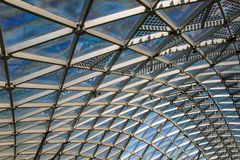 Transparent glass ceiling. Triangular pattern of transparent glass modern roof Royalty Free Stock Photos
