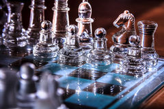Transparent glass chess Royalty Free Stock Image