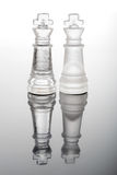 Transparent glass chess kings Stock Images