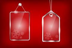 Transparent glass Christmas price tags Stock Image