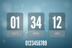 Transparent Glass Countdown timer  on blue background. Mechanical scoreboard. Royalty Free Stock Photo
