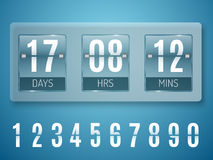 Transparent Glass Countdown timer isolated on blue background. Mechanical scoreboard. Stock Images