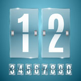 Transparent Glass Countdown timer isolated on blue background. Mechanical scoreboard. Royalty Free Stock Images