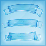 Transparent Glass Or Crystal Banners And Ribbons Royalty Free Stock Photography