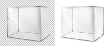 Transparent glass cube. Realistic aquarium. Special showcase stock illustration