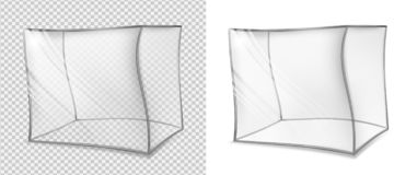Transparent glass cube. Realistic curved aquarium. Special bent royalty free illustration