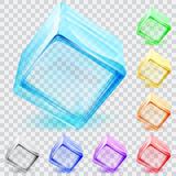 Transparent glass cubes. Set of multicolored transparent glass cubes Royalty Free Stock Photos
