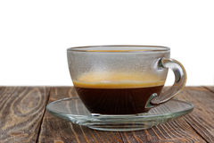 Transparent glass cup with espresso Royalty Free Stock Images