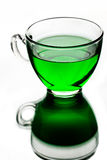 Transparent glass cup with green tea Royalty Free Stock Image