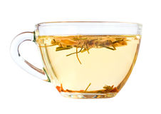 Transparent glass cup with green tea, Royalty Free Stock Images