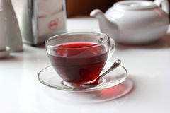 Transparent glass cup of red fruit tea on the Stock Image