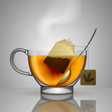 Transparent glass cup with tea bag, spoon and hot water Royalty Free Stock Photos