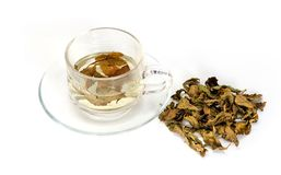 Transparent glass cup with tea Royalty Free Stock Photography