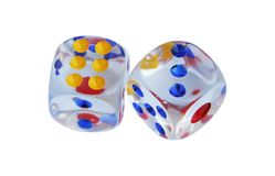 Glass made dices. Transparent glass dices. Casino dices. Royalty Free Stock Photo