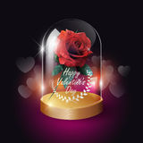 Transparent glass dome and red rose lowpoly style on heart bokeh background with Valentine`s day concept, vector background Royalty Free Stock Photography