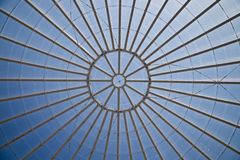 Transparent glass dome in sunny day. Bottom view stock image
