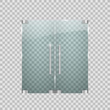 Transparent glass doors with metal elements. Vector illustration Stock Photography