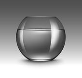 Transparent Glass Fishbowl Aquarium with Water Royalty Free Stock Photography