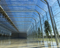 Transparent glass interior with sunlight Royalty Free Stock Images