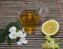 The transparent glass of lime tea and lemon Stock Image