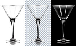 Transparent glass for martini.  On White and black Backg Stock Photos