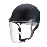 Transparent glass mask dark gray motorcycle helmet isolated on w Stock Photography