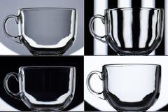 Transparent glass mug on black and white background Stock Photo