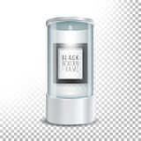 Transparent Glass Museum Showcase Podium With Dark Wooden Picture Frame Template, Spotlight And Sparks. Mock Up Capsule Box For Ex Stock Image