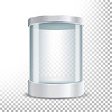 Transparent Glass Museum Showcase Podium. Mock Up Capsule Box, Object In Form Cylinder For Exhibition. Vector Realistic Illustrati. Transparent Glass Museum stock images