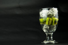 The transparent glass, pieces of fruit, kiwi, Pita Royalty Free Stock Image