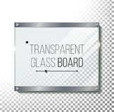 Transparent Glass Plate Mock Up Vector. Plastic Glossy Panel With Reflection, Shadow. Realistic Frame With Steel Rivets Stock Photography